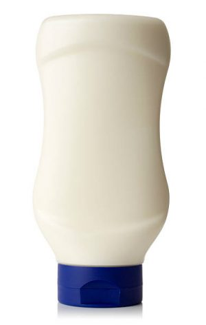 Mayonnaise bottle isolated on a white background.